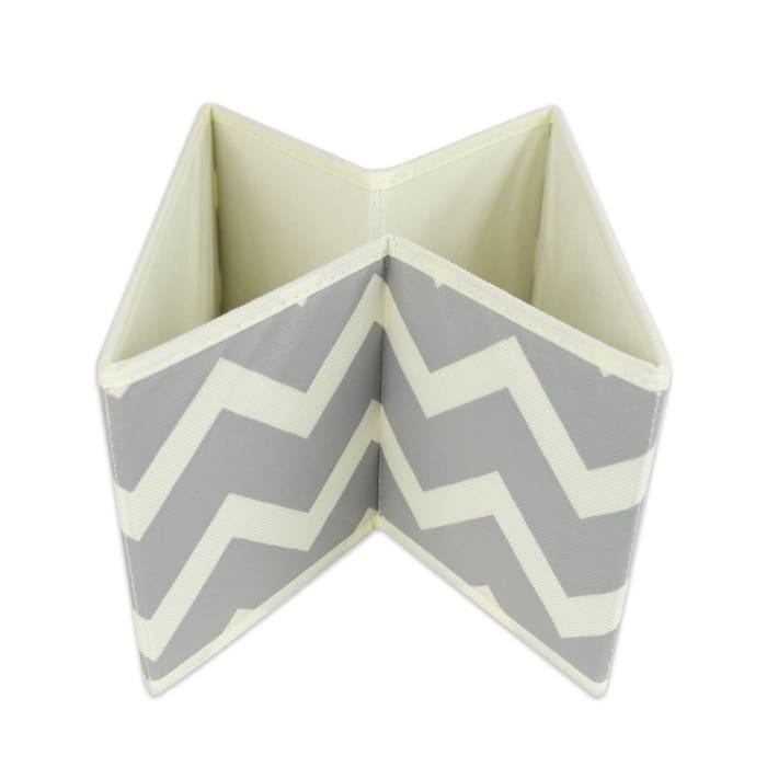 Nonwoven Polyester Bin Chevron Gray Square Medium 11x11x5.5 Set/2