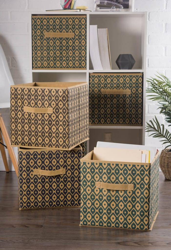Nonwoven Polyester Cube Ikat Black Square 11x11x11 Set/2