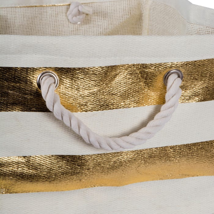 Paper Basket Stripe Gold Rectangle Large 17x15x12