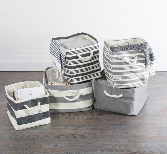 Paper Basket Stripe Gray Rectangle Large 17x15x12