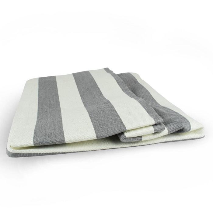 Paper Basket Stripe Gray Rectangle Medium 15x14x10