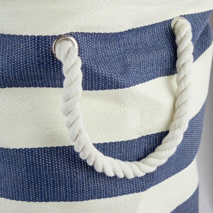 Paper Bin Stripe Nautical Blue Round Medium 13.75x13.75x17