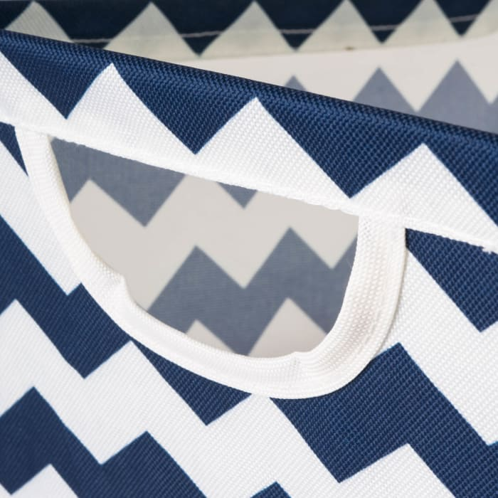 Polyester Bin Chevron Nautical Blue Trapezoid Large 20x14x11