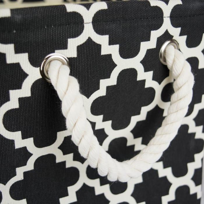 Polyester Bin Lattice Black Rectangle Large 17.5x12x15