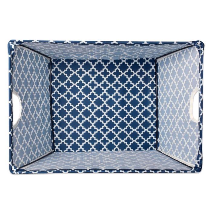 Polyester Bin Lattice Nautical Blue Trapezoid Medium 16x12x10