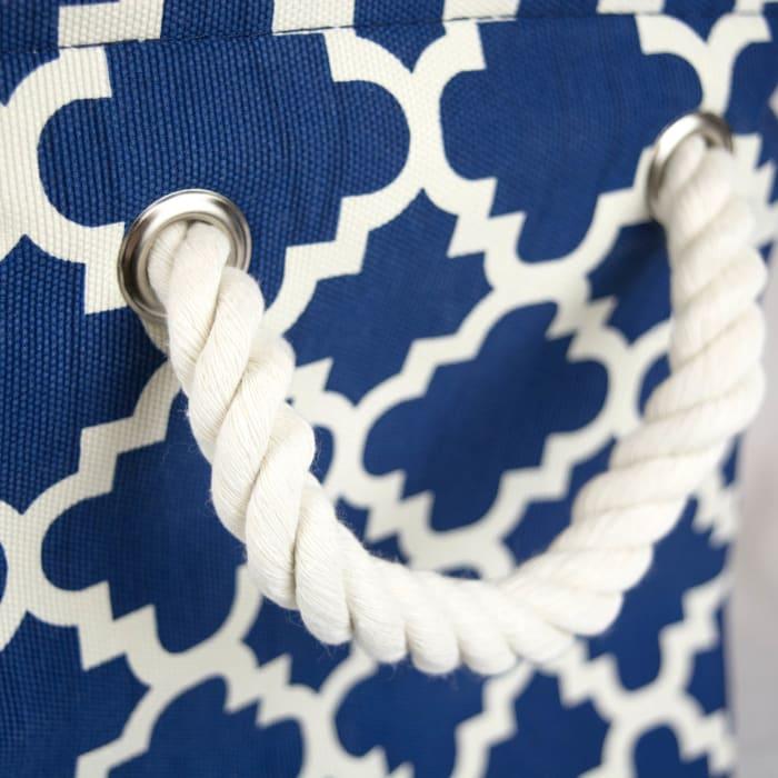Polyester Bin Lattice Navy Rectangle Medium 16x10x12