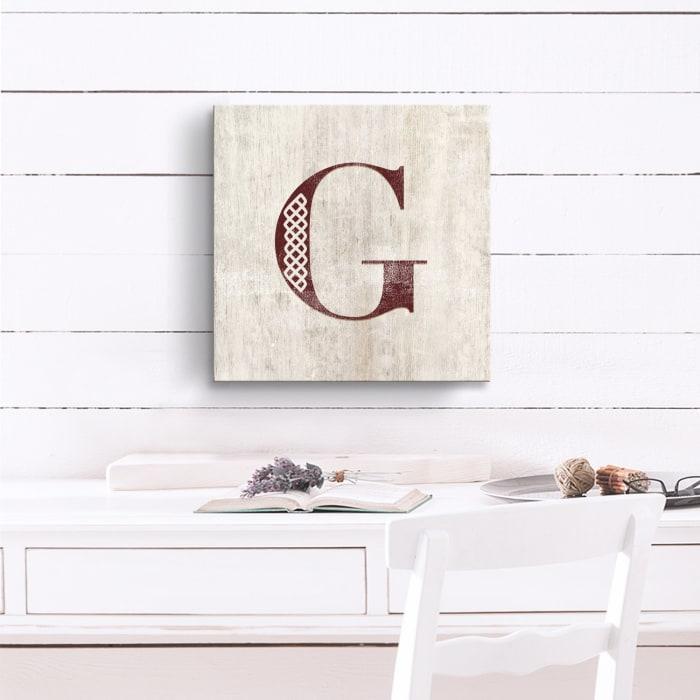 Vintage Inspired Monogram Tan Canvas Wall Art - Letter G