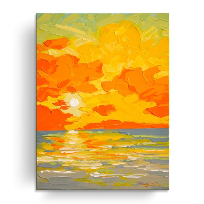 Sunburst Orange by Sarah LaPierre Canvas Coastal Wall Art