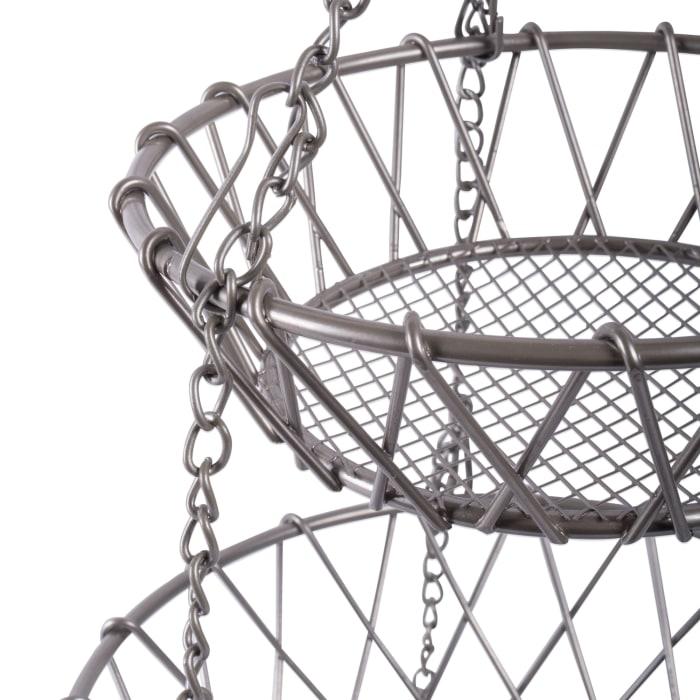 3 Tier Hanging Fruit Basket Satin Nickel