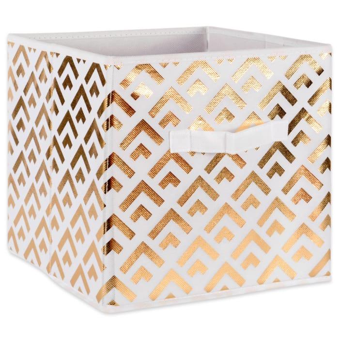 Nonwoven Polyester Cube Double Diamond White/Gold Square 11x11x11 Set/2