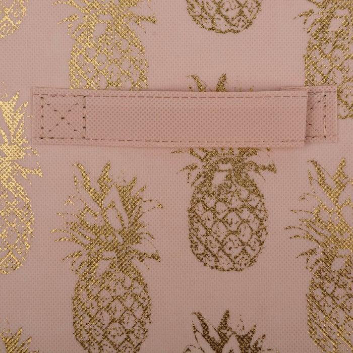 Set of 2 Pineapple Millennial Pink & Gold Storage Cubes