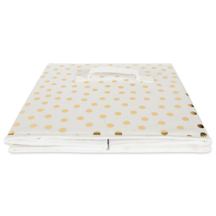 White/Gold Small Dots Square Cube (Set of 2) 11x11x11