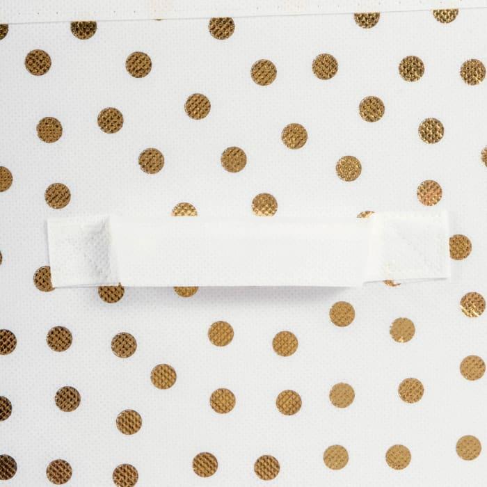 Nonwoven Polyester Cube Small Dots White/Gold Square 13x13x13 Set/2