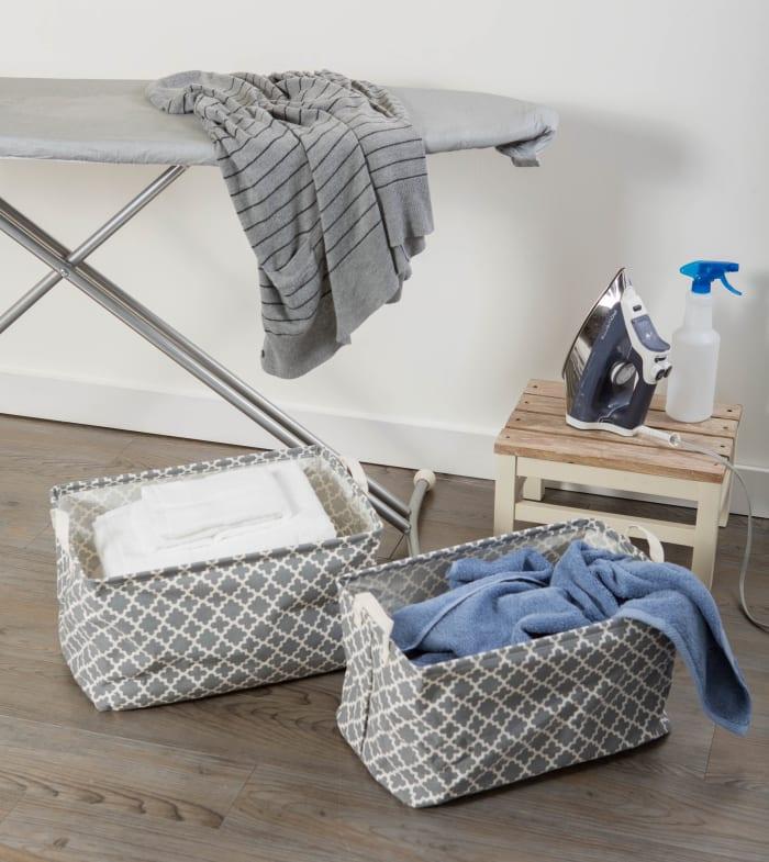 PE-Coated Cotton/Poly Laundry Bin Lattice Gray Rectangle Extra Large 12.5x17.5x10.5 Set/2