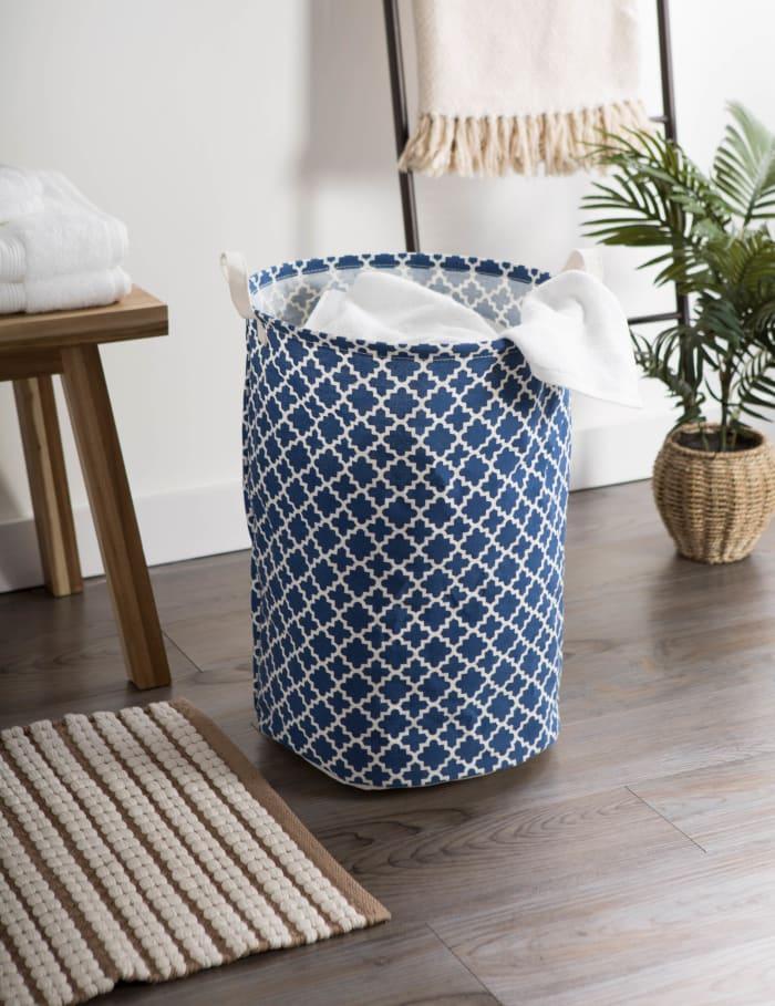 PE-Coated Cotton/Poly Laundry Hamper Lattice Nautical Blue Round 13.75x13.75x20