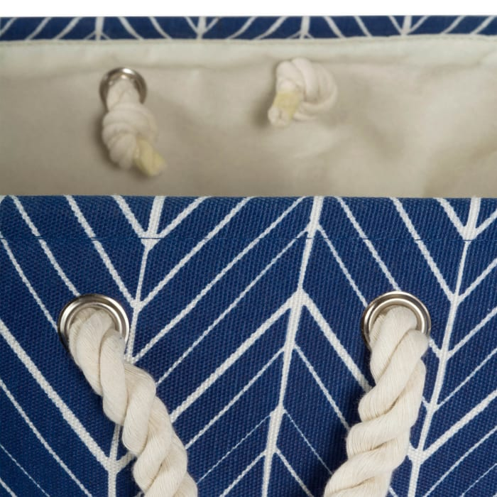Polyester Bin Herringbone Nautical Blue Rectangle Large 17.5x12x15