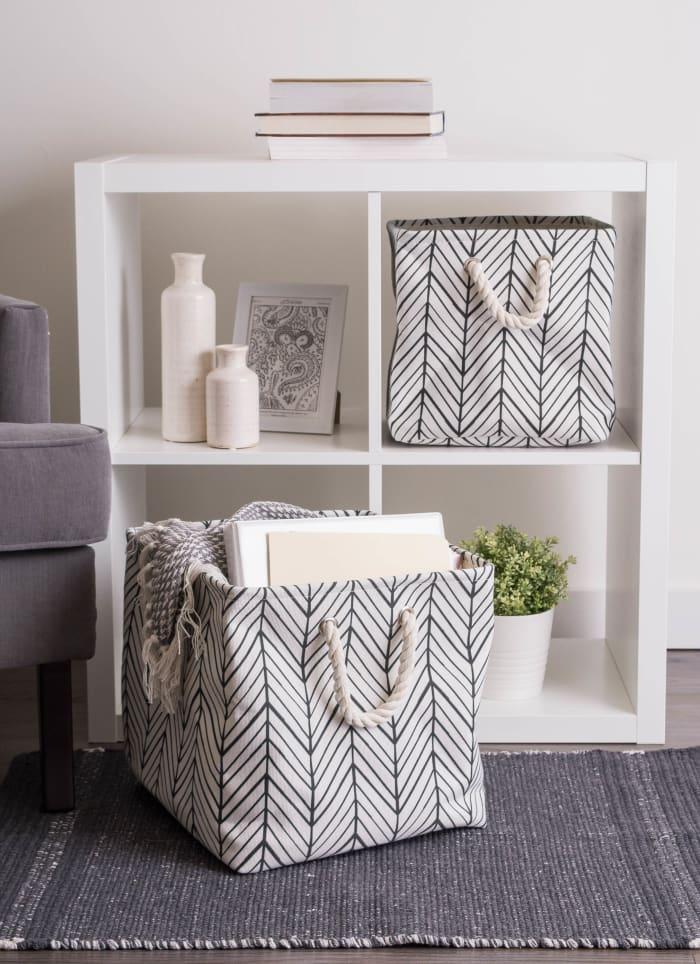 Polyester Bin Herringbone Off White Rectangle Small 14x8x9