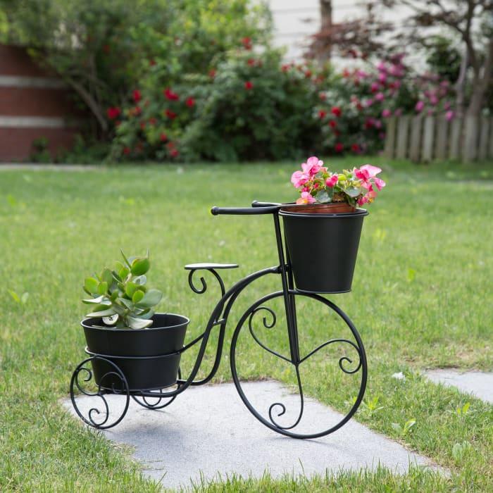 Black Metal Bike Planter