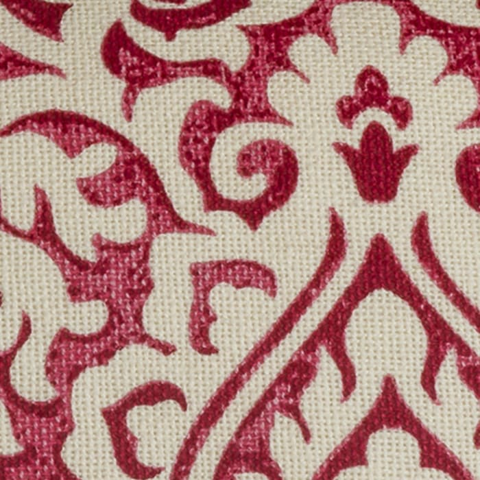 Damask Red & Natural Throw Pillow