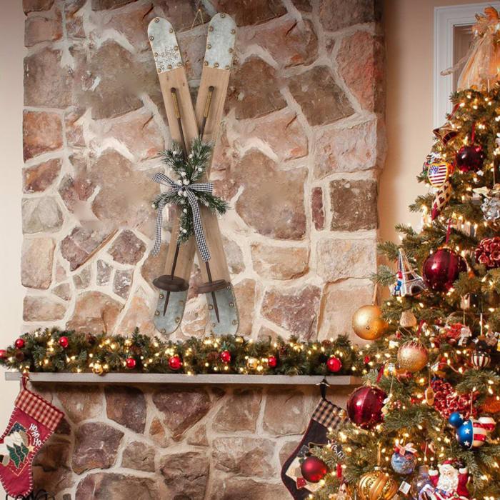 Natural Christmas Ski Wall Decor