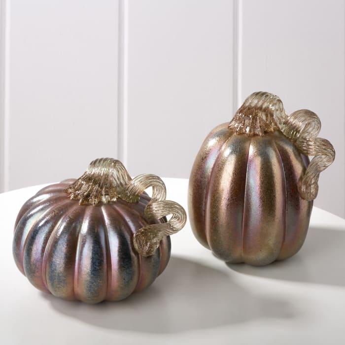 Blue & Gold Glass Pumpkins Set of 2