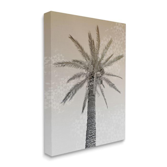 Vintage Sepia Palm Tree Geometric Pattern Wall Art