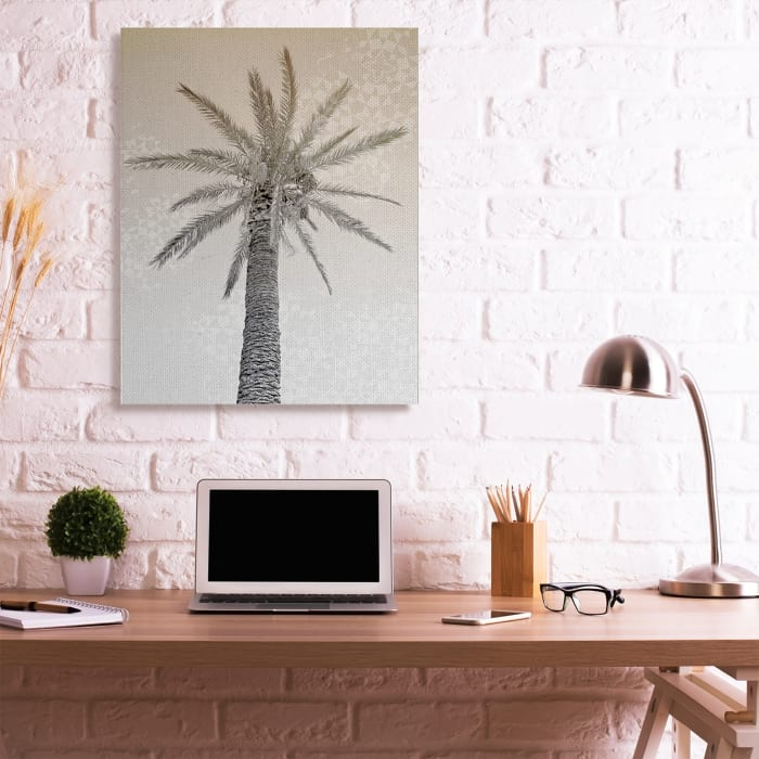 Vintage Sepia Palm Tree Geometric Pattern Super Wall Art