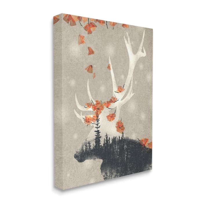 Tree Forest Elk Silhouette Orange Florals Stretched Canvas Wall Art by Ziwei Li 16 x 20