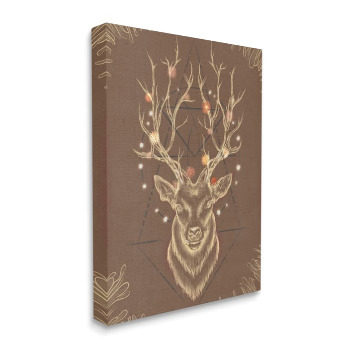 Rustic Deer Antlers Abstract Geometric Sketch Oversized Stretched Canvas Wall Art by Ziwei Li 24 x 30