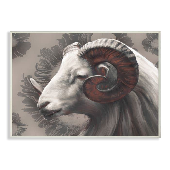 Big Horn Ram Portrait Abstract Grey Pattern Wall Plaque Art by Ziwei Li 10 x 15