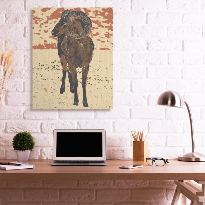 Abstract Vintage Ram Round Animal Horns Super Wall Art