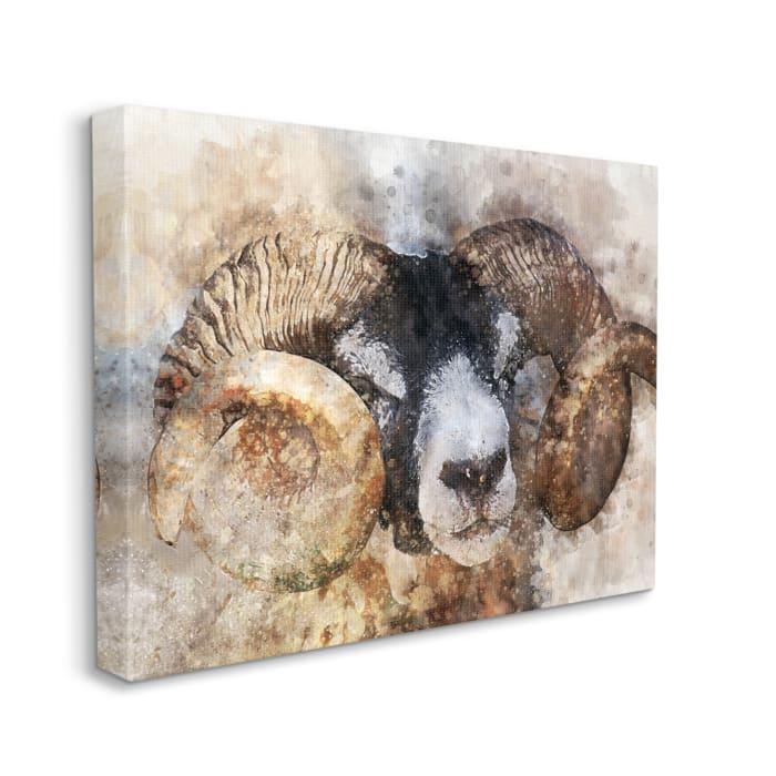 Big Horned Ram Abstract Dreamlike Portrait Wall Art