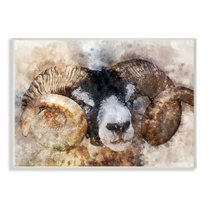 Big Horned Ram Abstract Dreamlike Portrait Wall Plaque Art