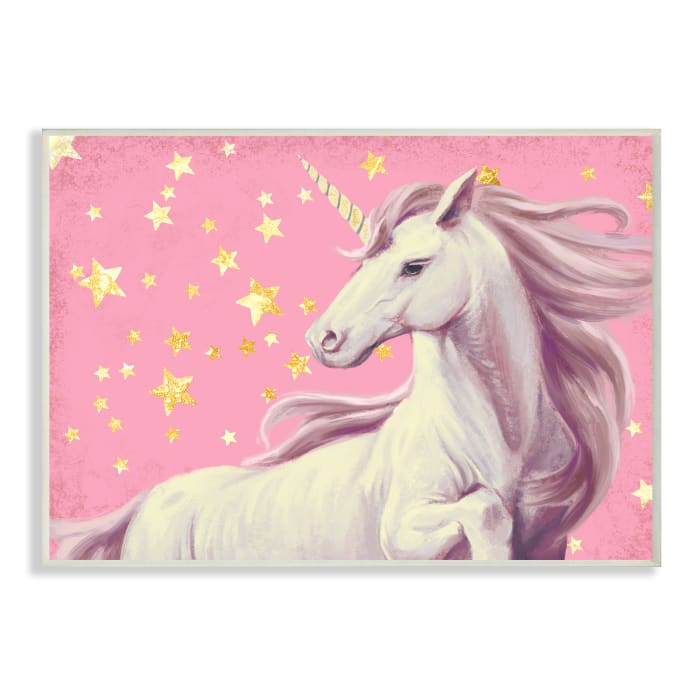 Adorable Unicorn in Pink Starry Sky Wall Plaque Art