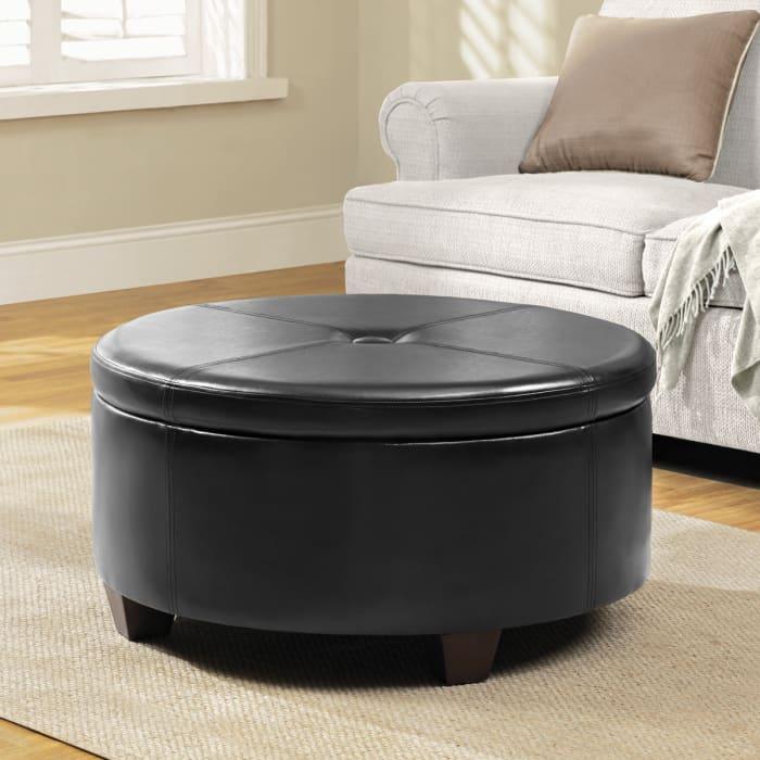 Large Round Button-top Storage Ottoman Brown