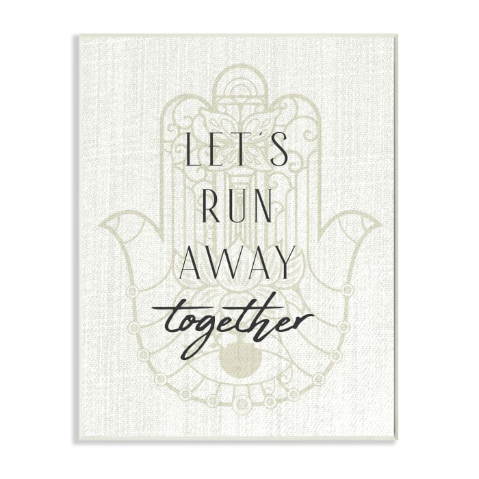 Runaway Together Quote Moroccan Khmissa Inspired Pattern Oversized Wall Plaque Art by Daphne Polselli 13 x 19