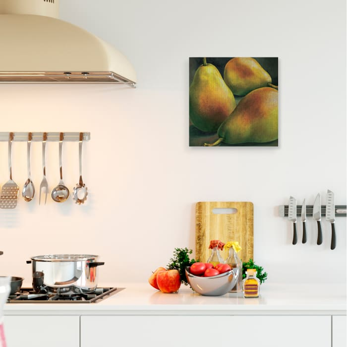Yellow Pear Red Blush Fruit Realistic Painting Stretched Canvas Wall Art by Stefania Mottinelli 17 x 17