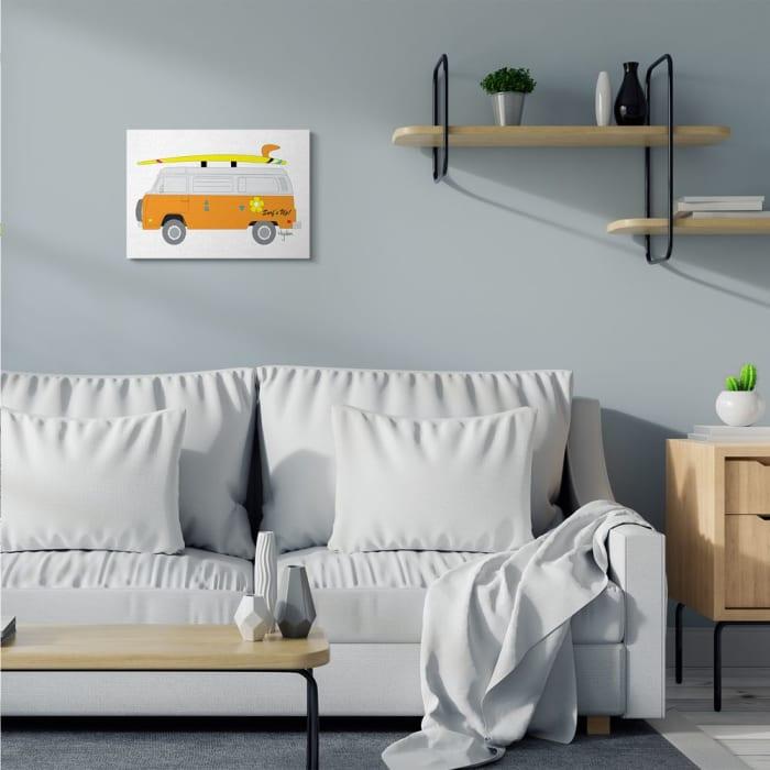 Retro Orange Beach Cruiser Surf Sport Stretched Canvas Wall Art by Mark Higden 16 x 20