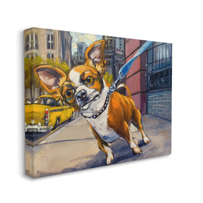 Urban City Dog Walk Family Pet Painting Stretched Canvas Wall Art by CR Townsend 16 x 20