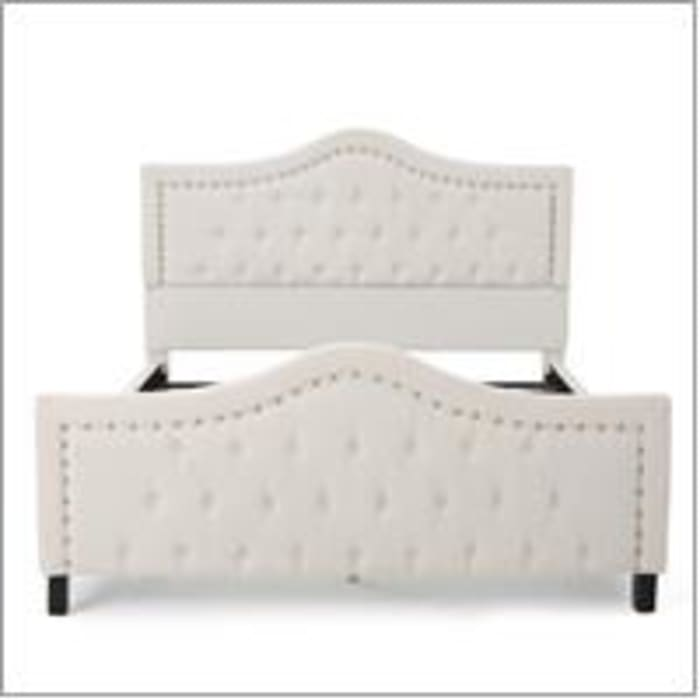 Ivory Upholstered Queen Bed