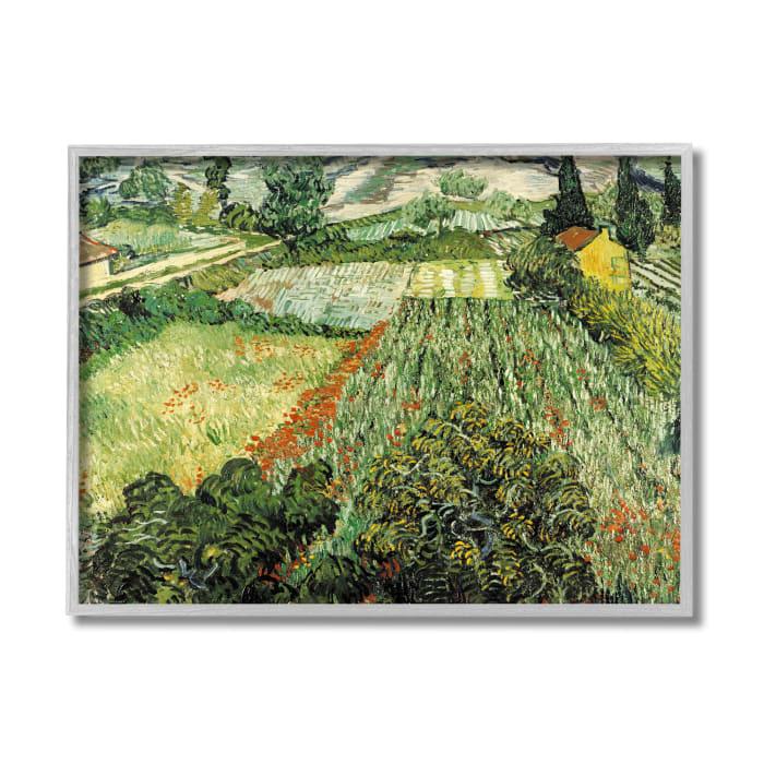 Classic Van Gogh Field Painting Feld Mit Mohnblumen Gray Framed Giclee Texturized Art by Vincent Van Gogh 11 x 14