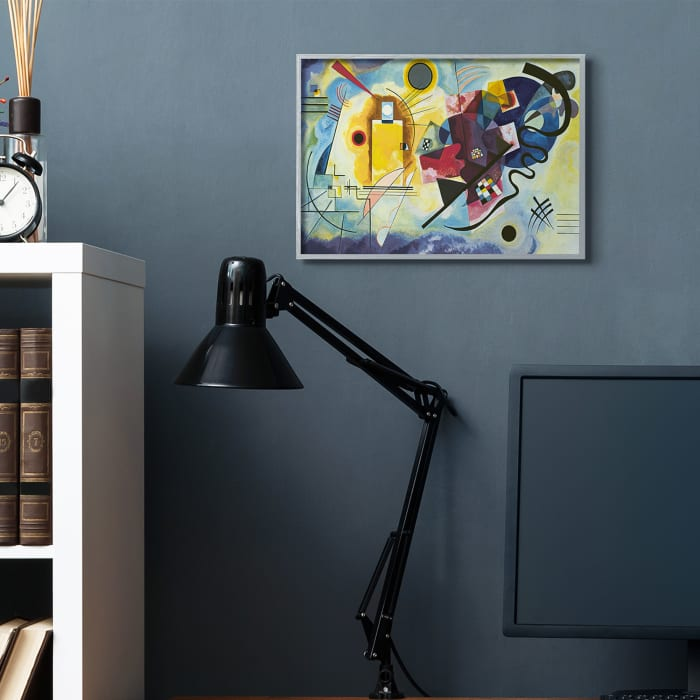 Classic Kandinsky Abstraction Yellow Red Blue Gray Oversized Framed Giclee Texturized Art by Wassily Kandinsky 16 x 20
