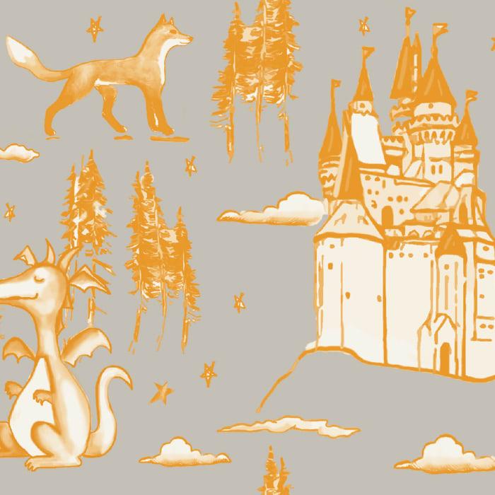 Medieval Toile Gray & Orange Self-Adhesive Borders Removable Wallpaper