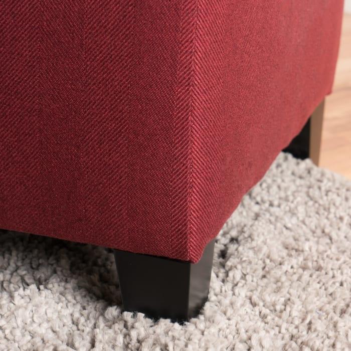 Red Fabric Storage Ottoman
