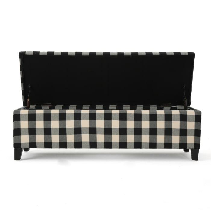 Black Checkerboard Fabric Storage Ottoman