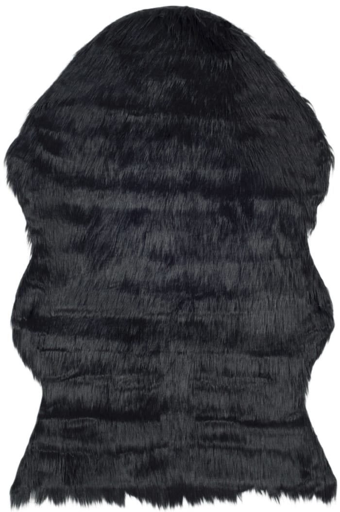 Dylan Black Faux Sheepskin 3'x5' Rug