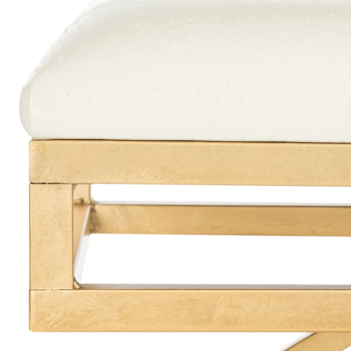 Amelia Ivory Faux Leather Arch Bench