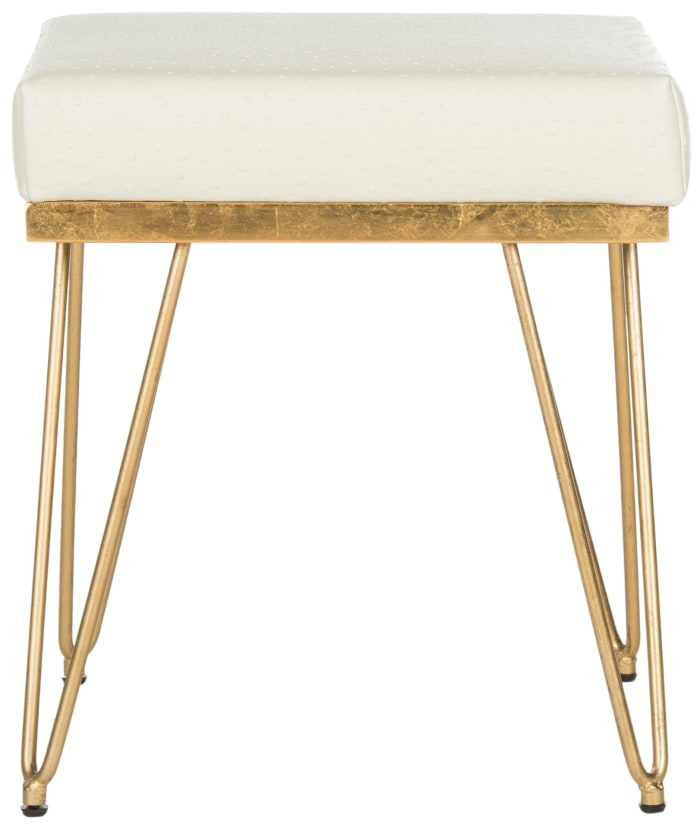 Joan Ivory Faux Ostrich Square Bench