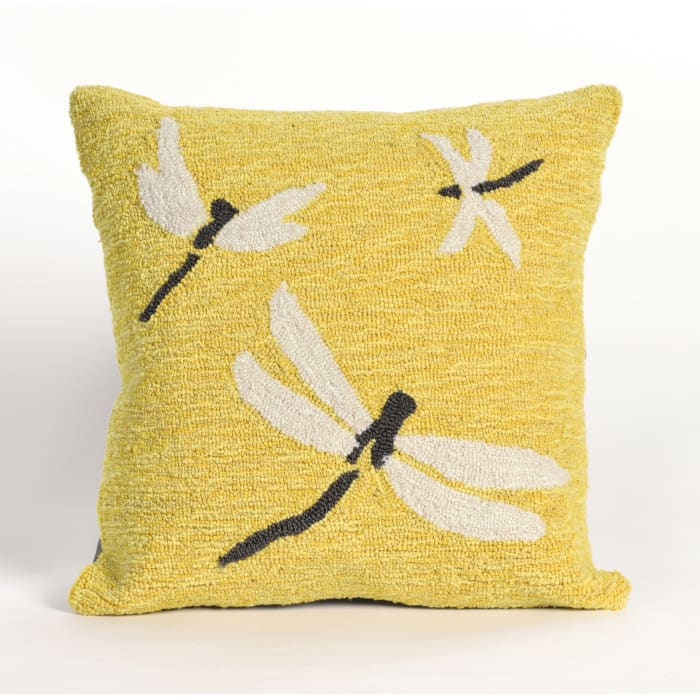 Dragonfly Yellow Outdoor Pillow