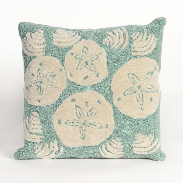 Shell Toss Blue Outdoor Pillow